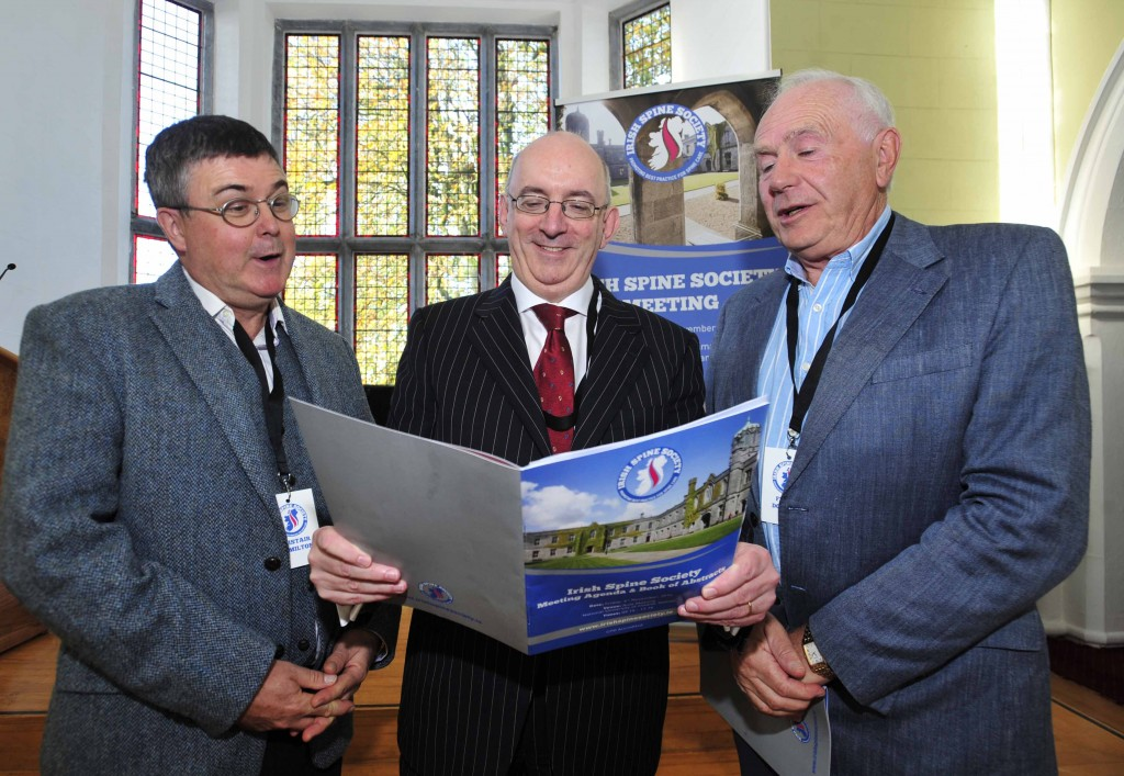 John Mc Cabe (centre), President of the Irish Spine Society with Alastair Hamilton and Frank Dowling, Consultant Orthopaedic Surgeon at Blackrock Clinic, at the Irish Spine Society Meeting at NUI Galway on Friday. Photo: Declan Monaghan