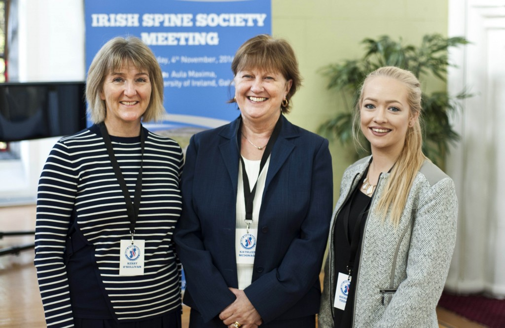 Kerry O' Sullivan, Kathleen Mc Donagh and Richella Tiernan from Go West pictured at the Irish Spine Society Meeting at NUI Galway on Friday. Photo: Declan Monaghan